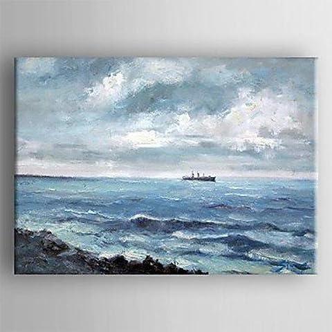 OFLADYH ® olio pittura di paesaggio a mano mare tele dipinte con allungata incorniciate