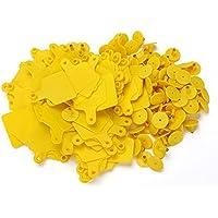 WEONE plástico etiqueta en blanco Ganadería grande del oído con color amarillo para ganado vaca paquete de 100