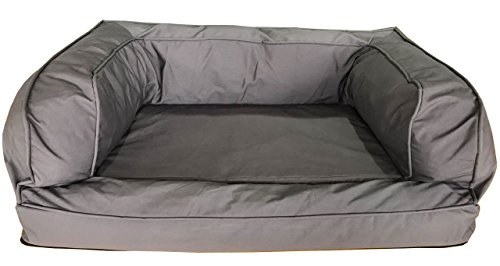 Orthopaedic-Memory-Foam-Dog-Bed-XL-Grey-100-x-70-x-35cm-With-8cm-Memory-Foam-on-2cm-Solid-Foam-For-Arthritic-Labrador-Sized-Dogs-Or-2-Smaller-Dogs
