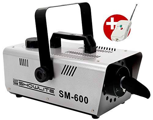 Showlite SM-600 Schneemaschine 600W mit Funk-Fernbedienung (30 m³/min Schneeausstoß, keine Aufwärmzeit, Tankvolumen: 1 Liter, inkl. Hängebügel) silber - Hohe Schaum Wäsche