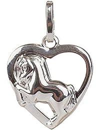 Bijoux Pendentif argent 925 coeur et cheval 14 x 13 mm