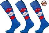 Comodo 3 Paar Bequeme Langlebige REIT-Socken | AntiZecken | AntiMücken | AntiFloh | Reitstrümpfe | Reiterstrümpfe | Knie-Strümpfe | Karomuster | Blue/Red/White 35-38