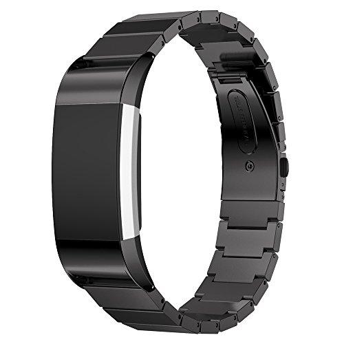 für Fitbit Charge 2Armband, aisports Fitbit Charge 2Uhrenarmband, Edelstahl-Armband Smart Watch Ersatz-Armband, faltbar, Schnalle für Fitbit Charge 2Armband, Fitness-Zubehör Schwarz