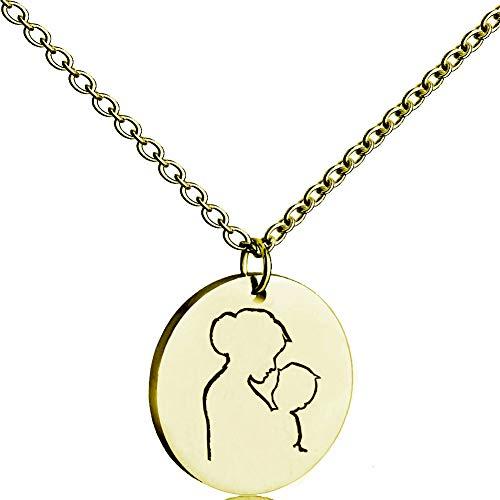 YinXX Tricolor Runde Zeichen Hangtag Halskette, Edelstahl Kennzeichnung Gravur Mutter Baby Halskette, Universelle Einfachheit,Gold