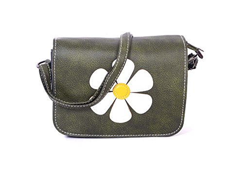 Stylish Flower Printed Green Leatherette Sling Bag For Women & Girls By Bagris GE01001276