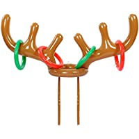Prochive Christmas Party Toss Game Inflatable Reindeer Antler Hat with Rings Family Children Christmas Fun Toy Set of 1