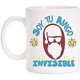 Taza Soy tu amigo invisible para Navidad. Taza muy divertida de papa noel para el amigo invisible