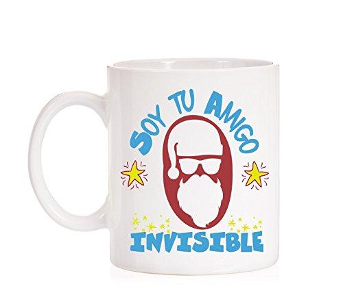 Taza Soy tu amigo invisible para Navidad. Taza muy divertida de papa n