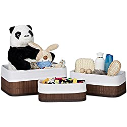 Relaxdays Aufbewahrungskorb Bad aus Bambus 13 x 30 x 20 cm HxBxT, pflegeleichtes 3er Set Regalkorb mit Stoffbezug, braun