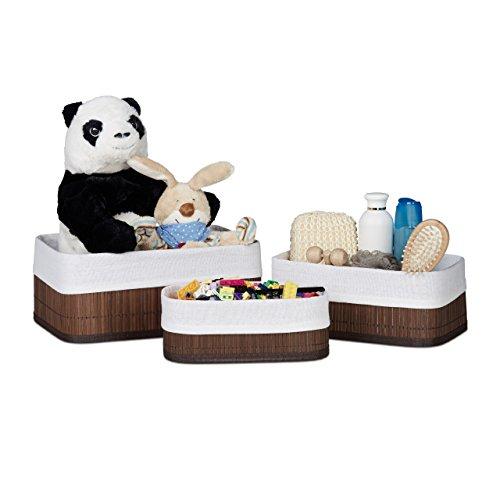 Relaxdays Cestas de almacenaje de bambú para baño, 13 x 30 x...