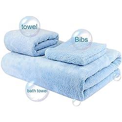 WEINAS® Juego de 3 Toallas de Secado Rápido, Toalla de Ducha, Toalla de Baño para Bebés y Adultos, Toalla de Manos - Color Azul