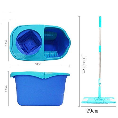 Rotationsmop Drehen Mop einfach zu Drehen die Mop Handdruck Whirlwind Trailer Floor Mop zu ziehen die Mop (blau) (2 Mop Kopf) scrollen - Scrollen Ziehen