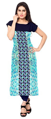 Ziyaa Blue Colour Boat Neck With Cap Sleeve Faux Crepe Digital Print Kurti  available at amazon for Rs.499