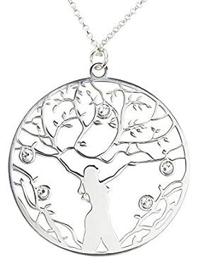 AKA Schmuck - Anhänger Lebensbaum und Swarovski Kristalle 925 Sterling Silber Damen Kette, Mod. Weibliche Kraft...
