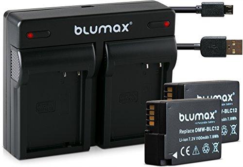 Blumax 2X Akku ersetzt Panasonic DMW-BLC12 / DMW-BLC12-E 1100mAh + Mini Dual-Ladegerät USB | kompatibel mit Lumix DMC: G5 | G6 | GX8 | G70 | G81 | GH2 | FZ200 | FZ300 | FZ1000 | FZ2000 | Leica V-Lux 4