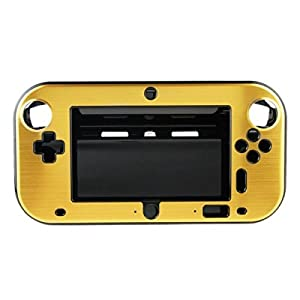OSTENT Anti-Schock-Hard-Aluminium-Metall-Box Cover Case Shell kompatibel für Nintendo Wii U Gamepad Farbe Gold