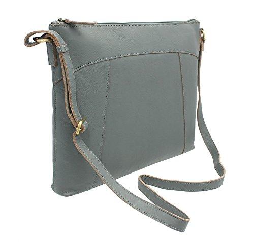 Pelle mala HARPER Collection A4 spalla del sacchetto / Corpo Bag Croce Blu 778_80 grigio