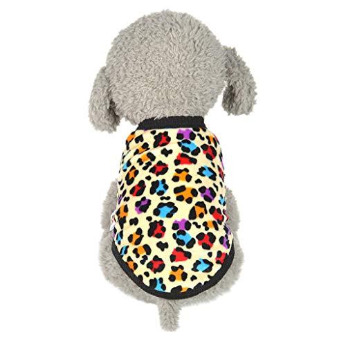 Haustier Hund Katze Weste,Niedlichen Hund Katze Welpen Kleidung,Weiche kleine Welpenhemd Pullover,Welpen Hund Korallenroter Samt Gedruckt Weste, für Das Wandern,Das Joggen,für Kleinen Hund (XXS) -