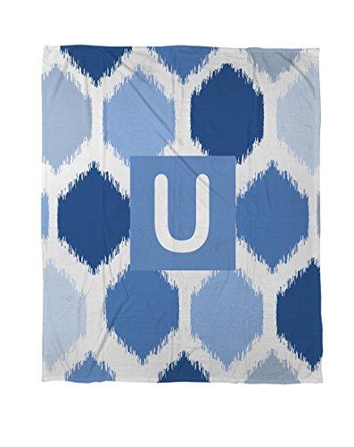 Manuelle holzverarbeiter & Weavers Coral Fleece Überwurf, 30von 102cm, Monogramm Buchstabe U, blau batik - Denim Tie Dye Tie