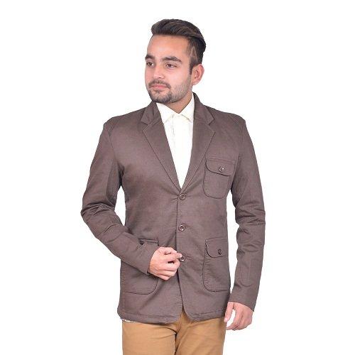 GDS Self Design Party Wear Brown Men Blazers