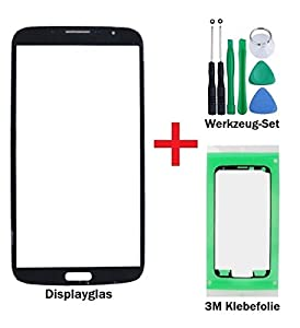 iTech Germany Displayglas Reparatur-Set für Samsung Galaxy Mega 6.3 Schwarz - Front Display Glas für i9200 i9205 LTE + 3M Klebefolie und Werkzeuge
