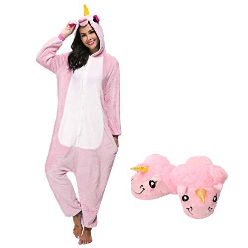 Mescara pigiama animali cosplay intero unisex costume halloween carnevale festa donna uomo animale sleepwear (m per alto 158-168 cm, rosa e pantofole)