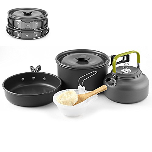 Camping Cookware, Hiking Cookware Aluminum Nonstick & Lightweight Outdoor Backpacking Cook Set with Kettle Bowl Pot Pan Storage Bag Sponge for 2-3 Individuls