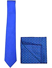 Chokore Light Blue Silk Tie & Benares Silk Blue Pocket Square Set