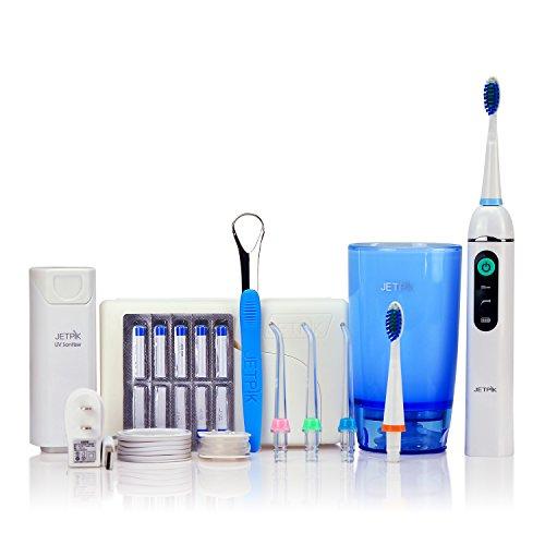JETPIK 200 (Ultra) 3 in 1 System: Elektrische Zahnseide mit Impuls - Munddusche und Schallzahnbürste in einem Handstück - zur Reinigung der Zahnzwischenräume aufladbar mit Reiseset