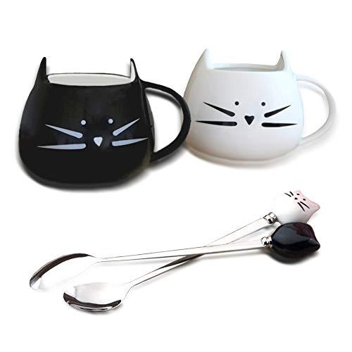 Recibirás:   2 tazas de tazas de cerámica para gatos  Material: Cerámica. Amigable con el medio ambiente. Está disponible en microondas, horno o lavavajillas. Tamaño: Un par de tazas de cerámica de gato de 500 ml.  color: blanco y negro  Contenido d...