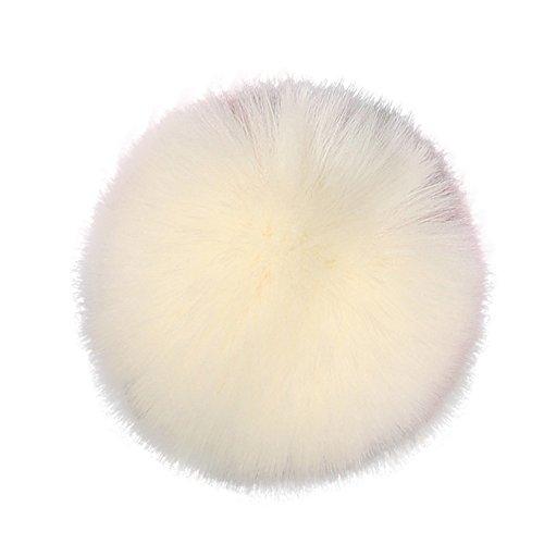 DIY Faux-Fox-Pelz-Flaumiger Pompom-Ball FüR Strickende Hut-HüTe Mit Elastischer Schnur Das Stricken Der Hut-HüTe, 10Cm (4') PopuläRe Mischungs-Farben Stellten (Beige,Freie Größe)