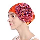 SEWORLD Frauen Friesen Blume Perlen Kapp Indien Hut Stretch Kopftuch Heißer Einzigartiges Design Mode Beanie Schal Turban Wrap Cap(Orange)