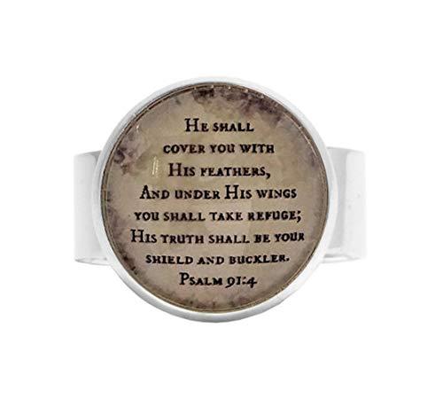 aaaAA Verstellbarer Psalm Ring Bibelvers Verstellbarer Ring Schrift Verstellbarer Ring He Shall Cover You Psalm 914 Unter His Wings Refuge Verse