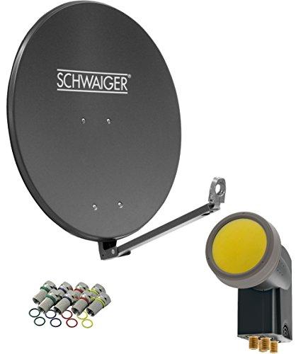 SCHWAIGER -4609- Sat Anlage, Satellitenschüssel mit Quad LNB (digital) & 8 F-Steckern 7 mm, Sat Antenne aus Aluminium, Anthrazit, 88 x 88 cm -