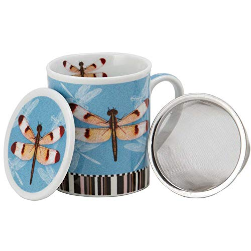 Aromas de Té - Tea Cup with Filter and Cover/Tisana Infusions and teas with Infuser Porcelain Steel, Design Dragonfly