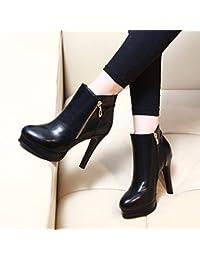 KHSKX-Nuova Coreano Impermeabile Stivali Con I Tacchi Piccola. - Combacia Tutto Martin Stivali Fashionista Stivali Di Pelle 39 Black