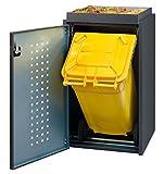Mülltonnenbox 1x120L mit Pflanzenwanne aus Aluminium schwarz
