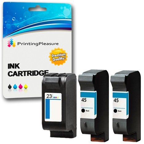 Printing Pleasure 3 Druckerpatronen für HP Deskjet 1120c 1120cxi 1120cse 1125c 710c 712c 720c 722c 815c 830c 880c 882c 890c 895cxi Copier 140 145 270 | kompatibel zu HP 45 (C51645AE) & HP 23 (C1823DE) -
