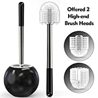 Yuede Toilet Brush and 2 Different Replacement Brushes,Toilet Brush Stainless Steel with Brush Holder, Premium Toilet Brush WC Set Black for Bathroom Toilet Brush