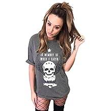 Dooxi Mujer Vintage De Rock Larga T Shirt Verano Manga Corta Mini Vestidos