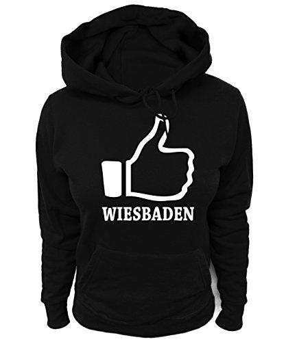 Artdiktat Damen Hoodie - I like Wiesbaden , Größe XL, schwarz