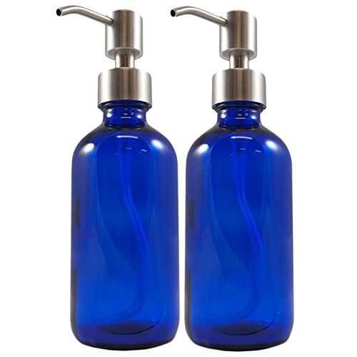 e7bd48c1ae27 8oz Cobalt Blue Glass Boston Round Bottles w/Stainless Steel Pumps , Great  for Essential Oils, Lotions and Liquid Soap by Cornucopia Brands