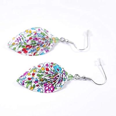 Boucles d'oreilles feuilles origami en tissu multicolore (Liberty) - crochets inox