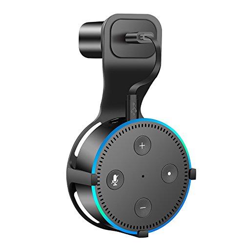 Wandhalterung Aufhänger Ständer Zubehör für Amazon Echo Dot 2nd Generation, beste platzsparende Lösung für Ihr Smart Home Lautsprecher ohne Kabelgewirr oder Schrauben–Schwarz