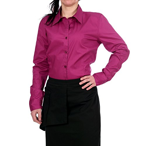 Jobeline, Gastrobluse, Damen Bluse, Service Bluse, Bluse Cassy langarm, Farbe:brombeer;Deutsche Größe:50