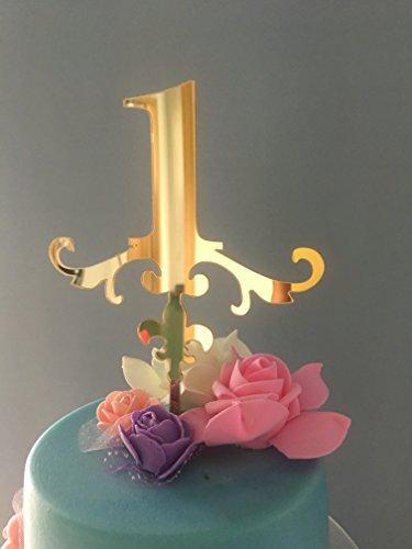 ShinyBeauty Eine Kuchen Topper-First Birthday - 1. Geburtstag-Smash Cake Topper-Gold Glitter Cake Topper-Geburtstag (Aller Liste Disney Prinzessinnen)
