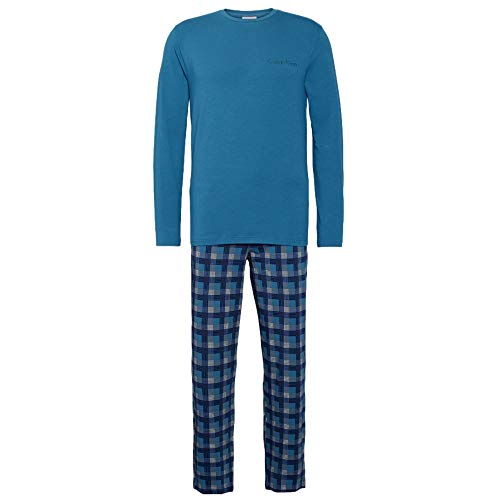 Calvin Klein Herren L/S Pant Set Thermounterwäsche-Unterteil, Blau (Corsair TOP/Rable Plaid DPV), X-Large (Herstellergröße:XL) (2erPack) -