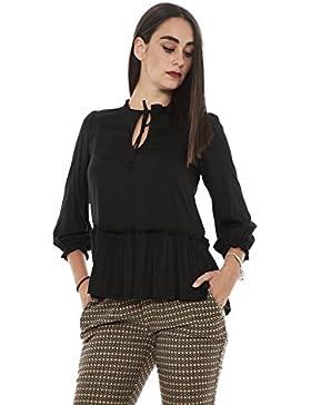 Manila Grace S08856 camicia donna blusa in tessuto fluido con scollo a serratura