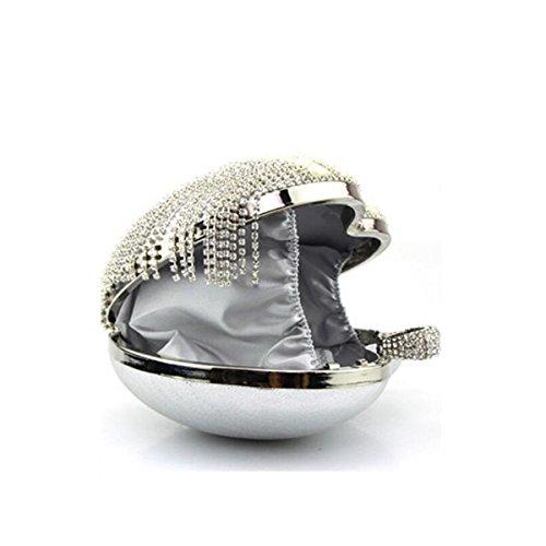 Lady Borsa A Catena Diamante Fibbia Anulare Spalla Borsa Messenger A Forma Di Cuore Borsa Da Sera Mini Borsa Silver