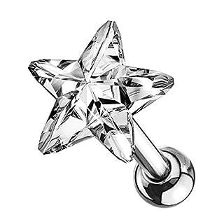 Piercingfaktor Tragus Helix Ohr Cartilage Knorpel Ear Piercing 316 L Chirurgenstahl Stecker Stud mit Kristall Strass Stern Silber Clear